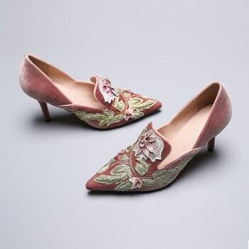 Vogue Flower Embroider Women Pumps High Heels Pointed Toe Elegant Velvet Wedding Pumps Women Valentine Shoes SWB0086