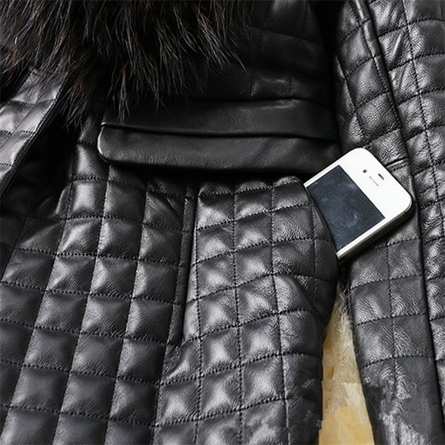 long Slim Ladies Black PU Fur Leather #Jacket Autumn Winter Office Ladies Artificial Fox #Fur #Coat #fashion #fauxfur #boygrl 4