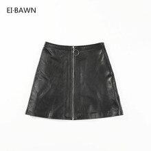 ラインショートミニスカートセクシーなプラスサイズ秋 A 2019 本物のラム革の女性の黒ジッパーハイウエストストリート