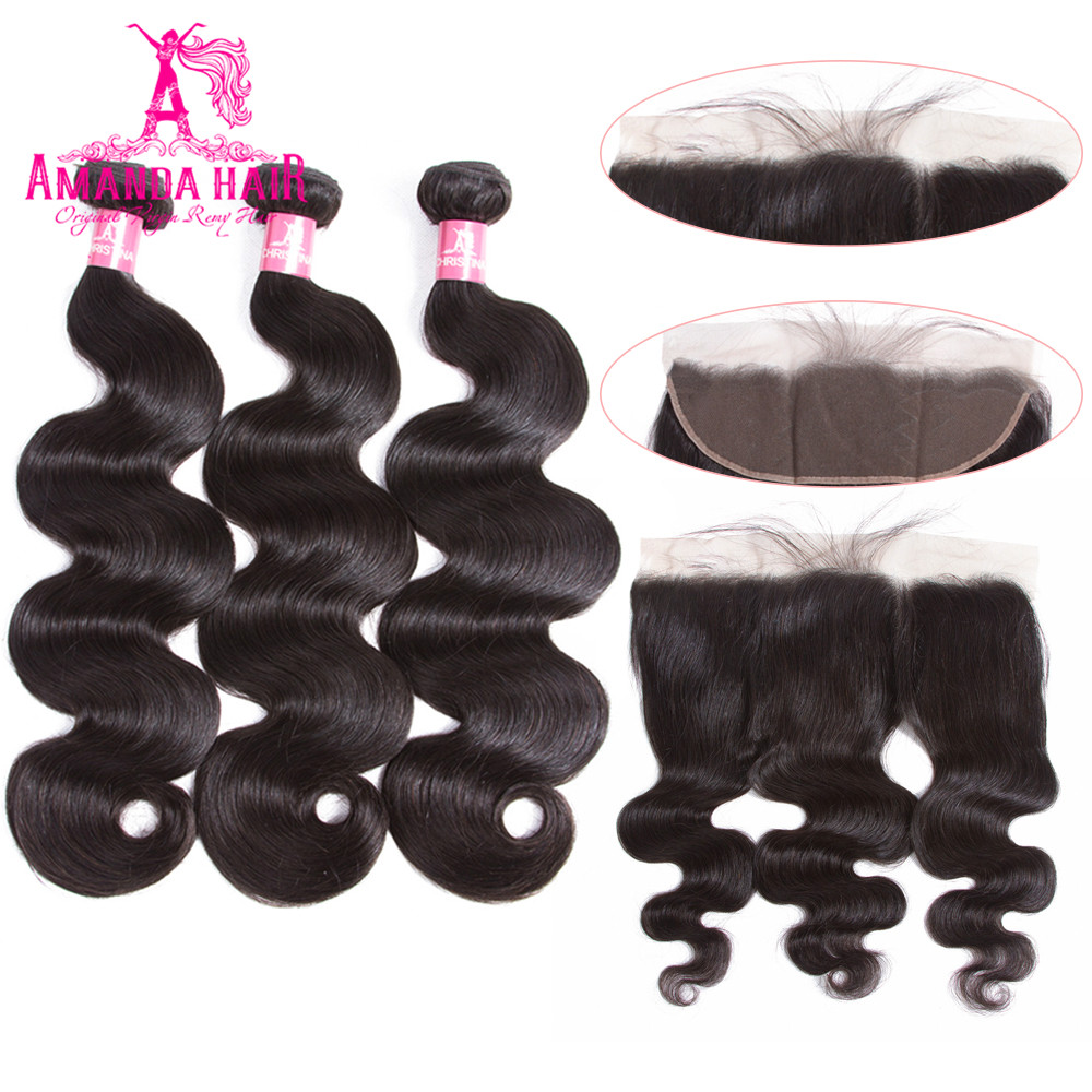 Amanda Lace Frontal With 3 Bundles Brazilian Body Wave Hair Weave Bundles With Closure Remy 8-26 Human Hair Bundles With Closure