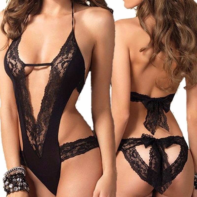 2018 Hot Sale New Sexy Lingerie Hot Black Lace Spliced Erotic Lingerie Costumes Temptation Transparent Sleepwear Sexy Lingerie