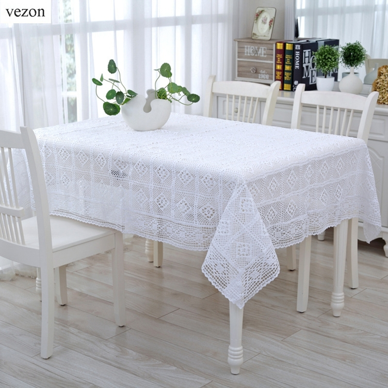 Vezon New White Zarte Baumwolle Gehäkelte Tischdecke Elegant Beige Crochet Table Cloth Overlays Home Decor Handtuch