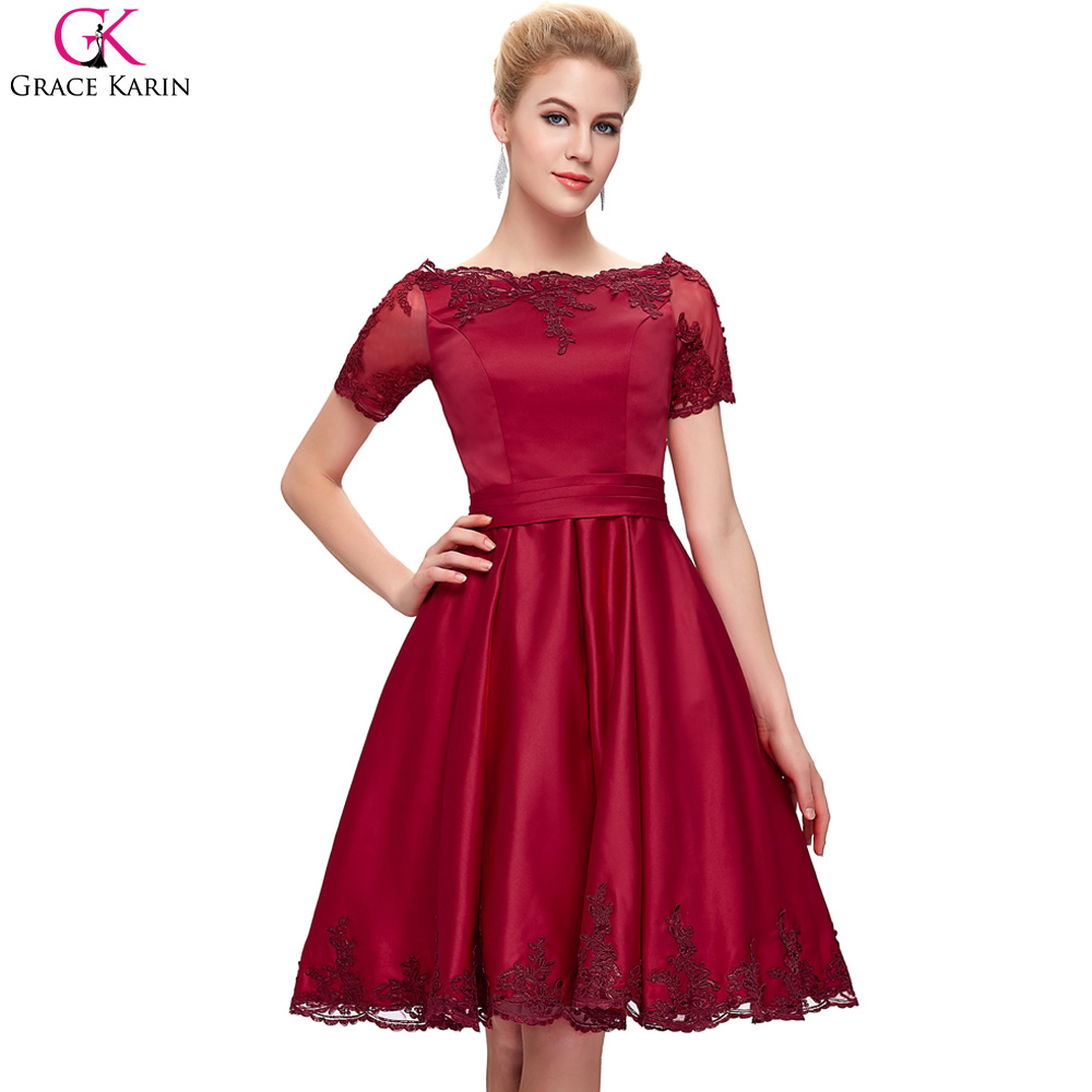 Grace Karin Cocktail Dresses Sleeves Cute Knee Length Satin Vestidos ...
