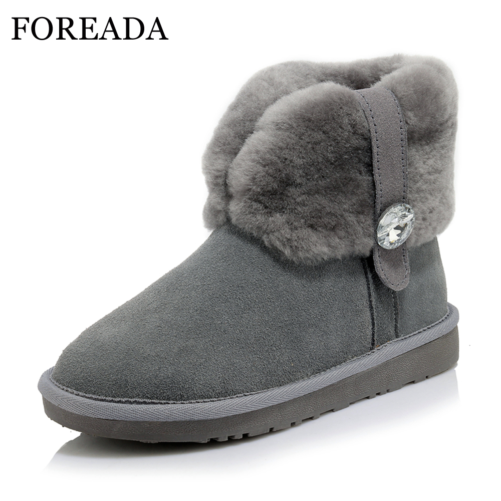 FOREADA Genuine Leather Women Winter Boots Suede Snow Boots Wool Ankle Boots Warm Fur Shoes Platform Flats Crystal Shoes Female