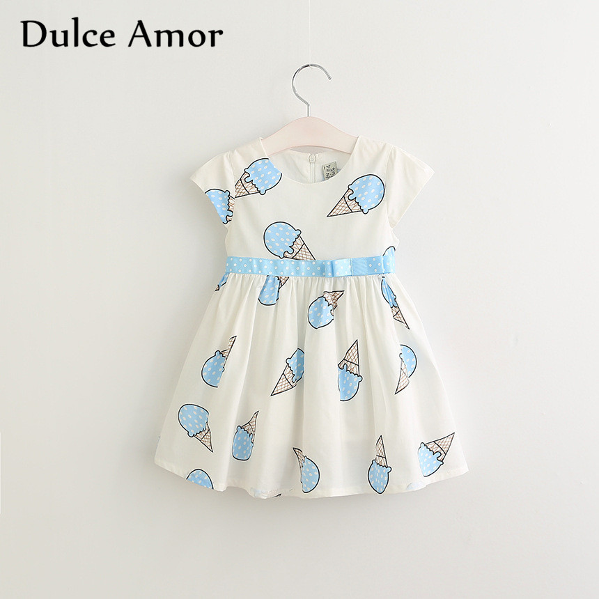 Dulce Amor Summer Cute Girls Dress Kids Baby Girls Clothes Short Sleeve Ice Cream Print Princess Dress Kids Dress For Girl cacharel туалетная вода amor amor 1001 night 100 ml