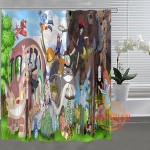Image 3 - Занавеска для душа Ghibli Totoro, занавеска для ванной комнаты, декор для ванной комнаты, H03M26D37