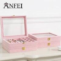 ANFEI 새로운 로맨틱 핑크 시리즈 보석 상자 당신의 소녀 감정 보석 주최자
