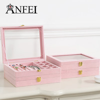 ANFEI New Romantic Pink Series Of Jewelry Box Give Your Girl Feelings Jewelry Organizer Earrings Ring