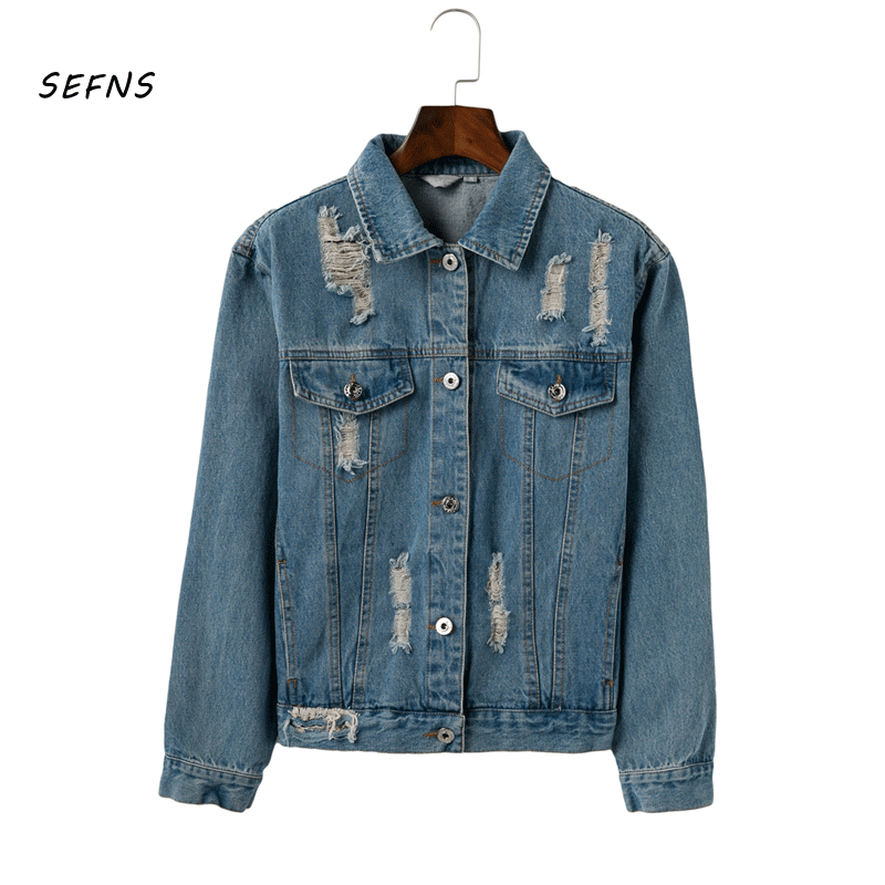 SEFNS Denim blue   basic     jackets   coat Women 2018 autumn winter vintage warm hole outerwear female Casual streetwear jean   jackets
