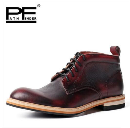 Pathfind Top quality men Luxury Leather ankle Boots Dress Career Motorcycle Martin Tooling Men Outdoor Western Botas mans shoes pathfind luxury brand leather ankle snow boots europe style motorcycle martin tooling military boots men outdoor casual shoes