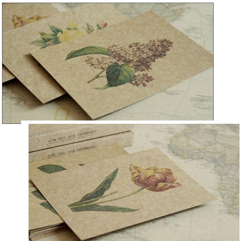 30pcs kraft paper Hand painted plants style postcard as invitation ...