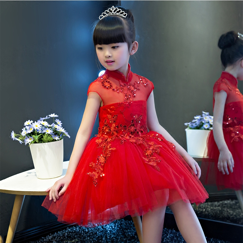 Hot-sales Chinese Style Red Color Children Girls Princess Mesh Dress Sweet Kids Birthday Wedding Party Summer Sequined Dresses 2016 summer hot girls rose golden wide belt dress children floral formal dress birthday party dress red white pink 6 size
