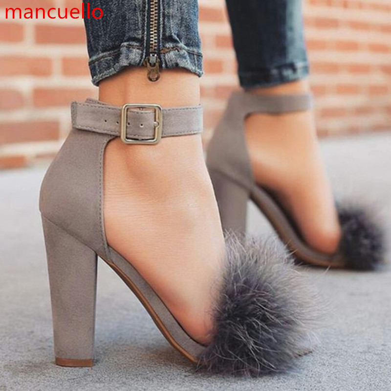 Online Get Cheap Chunky High Heels with Fur Ankle Strap ...