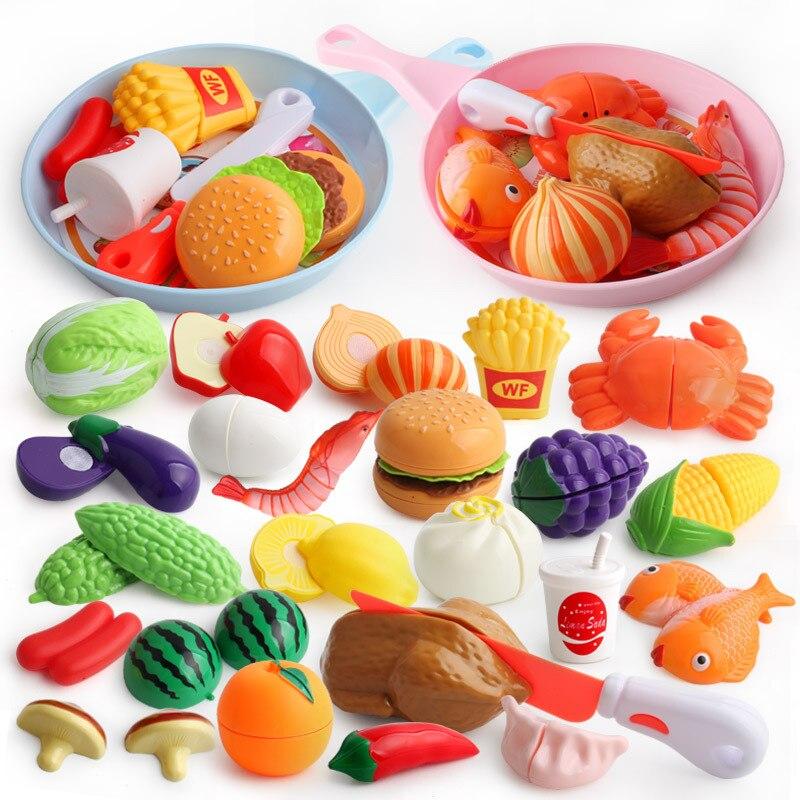 Juguetes para cortar Pizza y frutas para bebés, cortes vegetales, juego de simulación de plástico para cocinar alimentos de cocina, patatas para hamburguesas, juegos de cocina