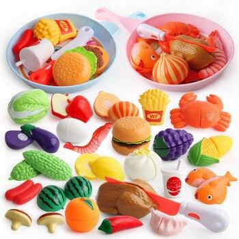 Juguetes de corte de verduras para bebés, Pizza, frutas, juego de simulación de plástico para cocina, juegos de cocina de hamburguesa y patatas fritas