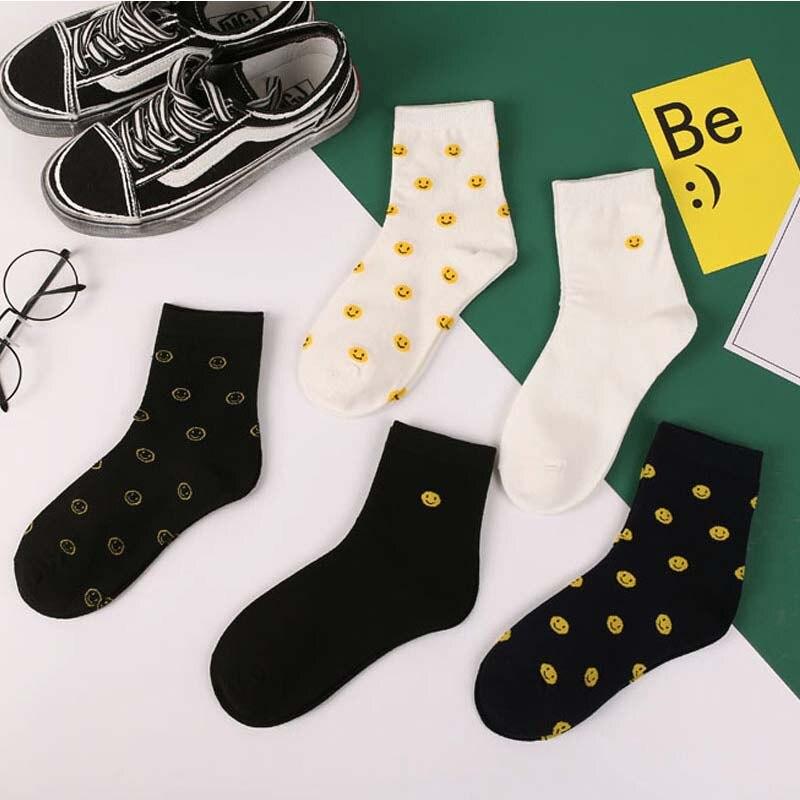Summer Women's Socks Harajuku Korea Japanese Cotton Socks Girl Cartoon Smiley Funny Womens Socks