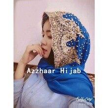 Fashion Woman Scarf Solid Color Rhinestone Pearl Shining Chiffon Silk Popular Shawls Headband Muslim Scarves Free Shipping