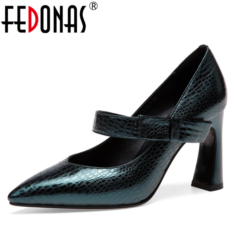 FEDONAS Fashion Women Basic Pumps Genuine Leather High Heels Shoes Elegant Party Wedding Spring Autumn Mary Janes Shoes Woman ekoak new 2018 handmade women pumps party wedding shoes woman fashion super high heels platform shoes mary janes women shoes