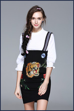 European style white shirts embroidery suspender skirt 2017 spring summer sweet overall dress suits