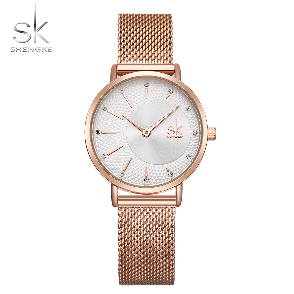 Shengke Women Watches Crystal Decoration Fashion Casual Quartz Ladies Watches Bayan Kol Saati Mesh Band Wristwatches Reloj Mujer