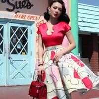 VẬN CHUYỂN MIỄN PHÍ Le Palais Cổ Điển 2016 Summer New Arrival Elegant sexy ngắn tay áo cao eo red splice tutu trung dress phụ n
