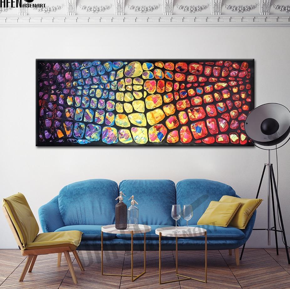 Blocchetto di Colore astratto Pittura A Olio A Mano Su Tela Modern Wall Picture for Living Room Home Decor Parete Opera Senza Cornice
