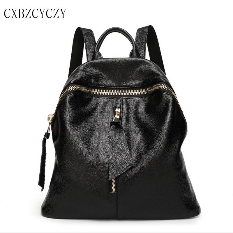 Genuine Leather Backpack Women Designer bags High Quality Shoulder Bags School Bags For Teenagers Cowhide Leisure Mochila Black genuine leather backpack women designer bags high quality new rivet casual black school bags for teenagers grils sac a dos