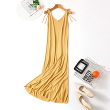 Spring and summer new style Ladies ice silk dress Korean temperament V-neck