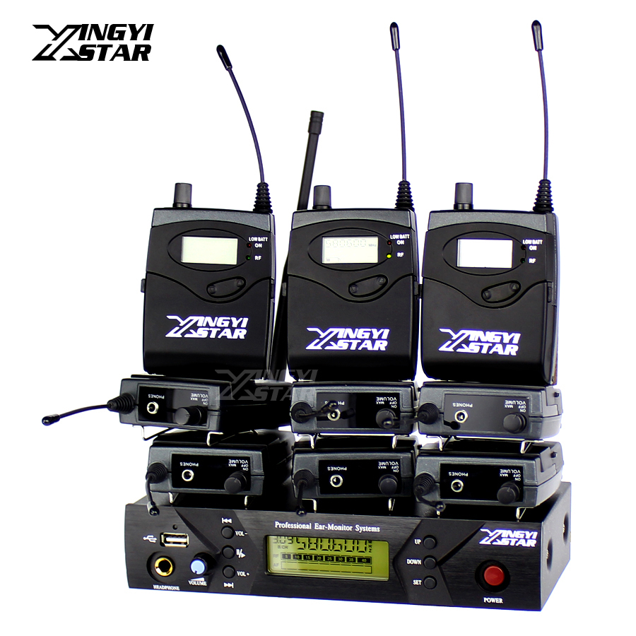 EW 300 Pro Monitoring UHF Wireless In Ear Headphone Stage Monitor System USB 1 Transmitter With 9 Receiver Recording Audio Mixer wireless pager system 433 92mhz wireless restaurant table buzzer with monitor and watch receiver 3 display 42 call button