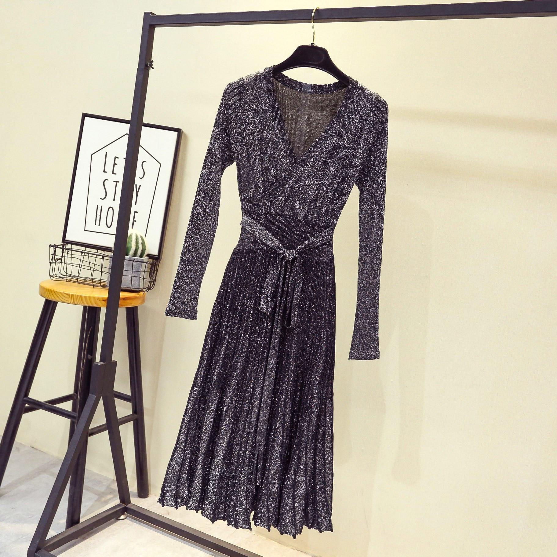 37e23033d1820 Printemps-Automne-Pull-Pliss-robe -pour-femmes-De-Mode-V-cou-manches-longues-lacets-Tricot-jupettes.jpg