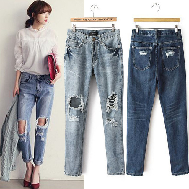 15SDNJ362Branded Export to Russia Plus Size Casual Pants Jeans Women  100%Cotton Denim Loose Ripped