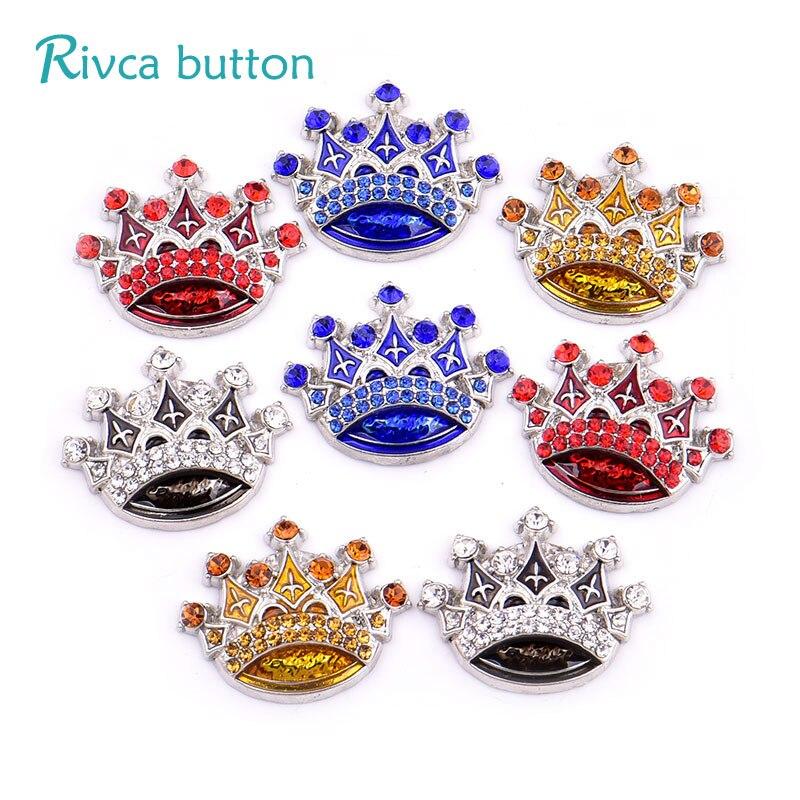 Rivca DIY Snap Button Jewelry Newest The Flower Rhinestone Styles Metal Charm 18mm big Snap Button Bracelet For Women D03910