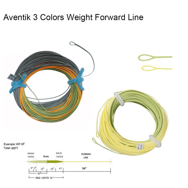 Aventik 3 Colors Percerption Trout Fly Fishing Line Weight Forward Floating Fishing Line LW4 LW5 LW6 LW7 LW8