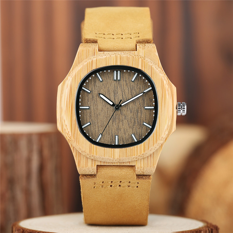Image 4 - 2020 New arrivals Wood Watch Natural Light Wooden Face Fashion Genuine Leather Bangle Unisex Gifts for Men Women Reloj de maderagifts for mengift giftsgifts for women -