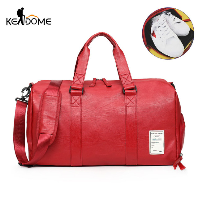 Top PU Leather Gym Male Shoe Bag Sport for Women Fitness Travel Luggage Bags Handbags Over the Shoulder Bag Black Red XA686WD