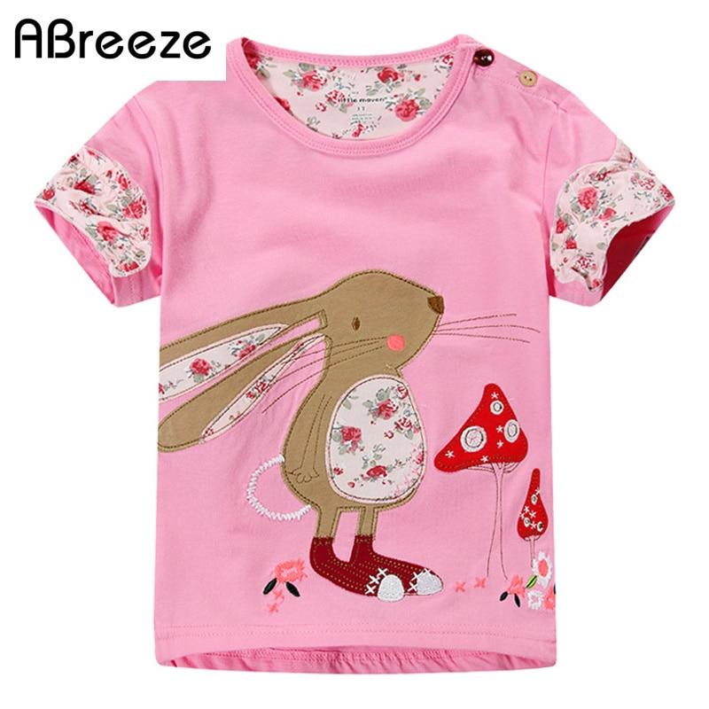 Nova marca Menina t-shirt estilo Europeu Meninas camisas de verão tarja  coelho dos desenhos animados manga curta Criança roupas roupa dos miúdos t 44f7ebca7e816