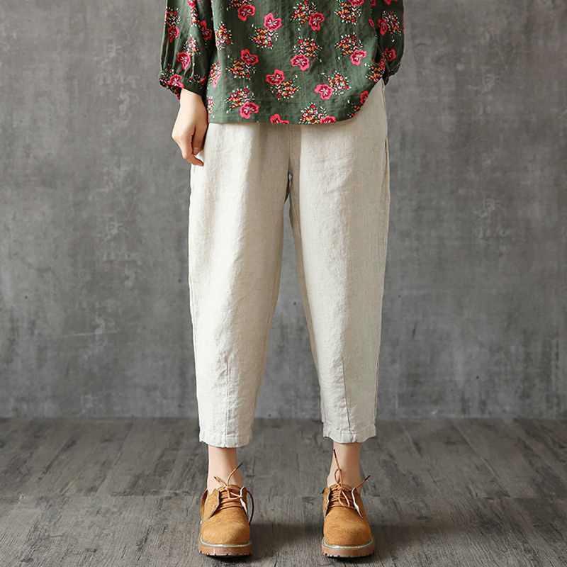 Cysincos, женские льняные штаны размера плюс, 2019, летние штаны капри, свободные, тонкие, ткань, лен, хлопок, штаны, одноцветные, штаны-шаровары для женщин