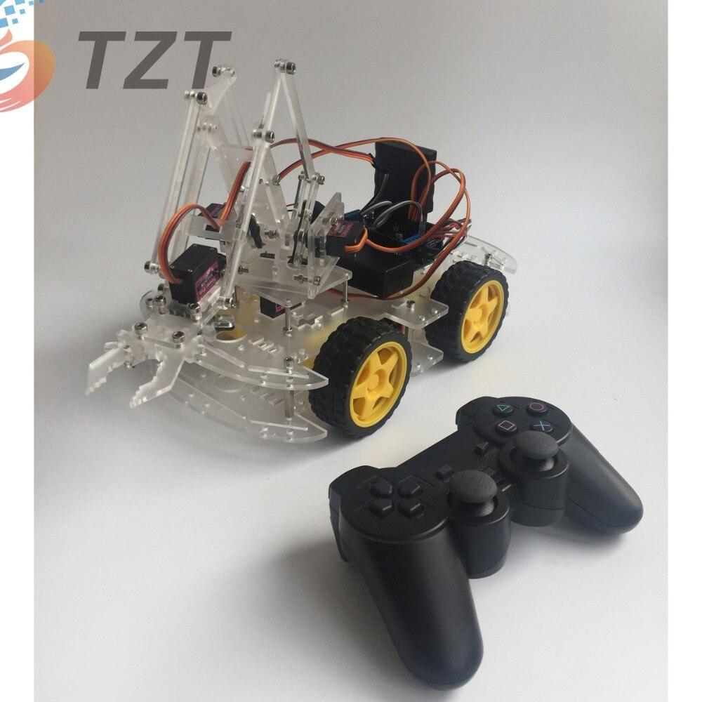 2018 4 оси MeArm DIY Arduinos рука робота Комплект колеса автомобиля дизайн с PS2 дистанционное управление джойстик