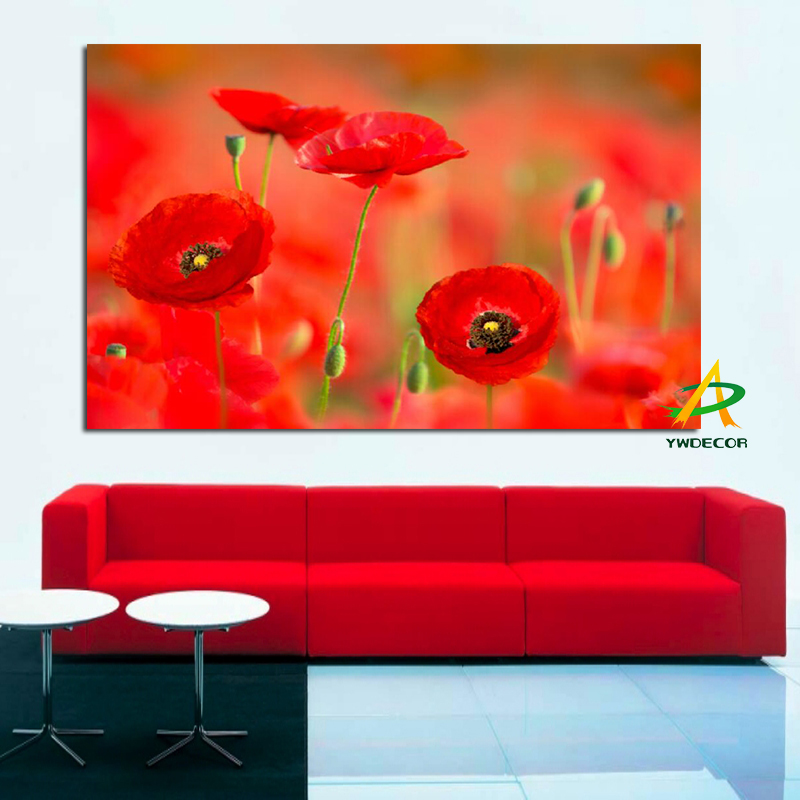 Ywdecor Orange Poppy Flower Modern Canvas Painting Hd Print On Frameless Wall Picture Art Living Room Home Decor