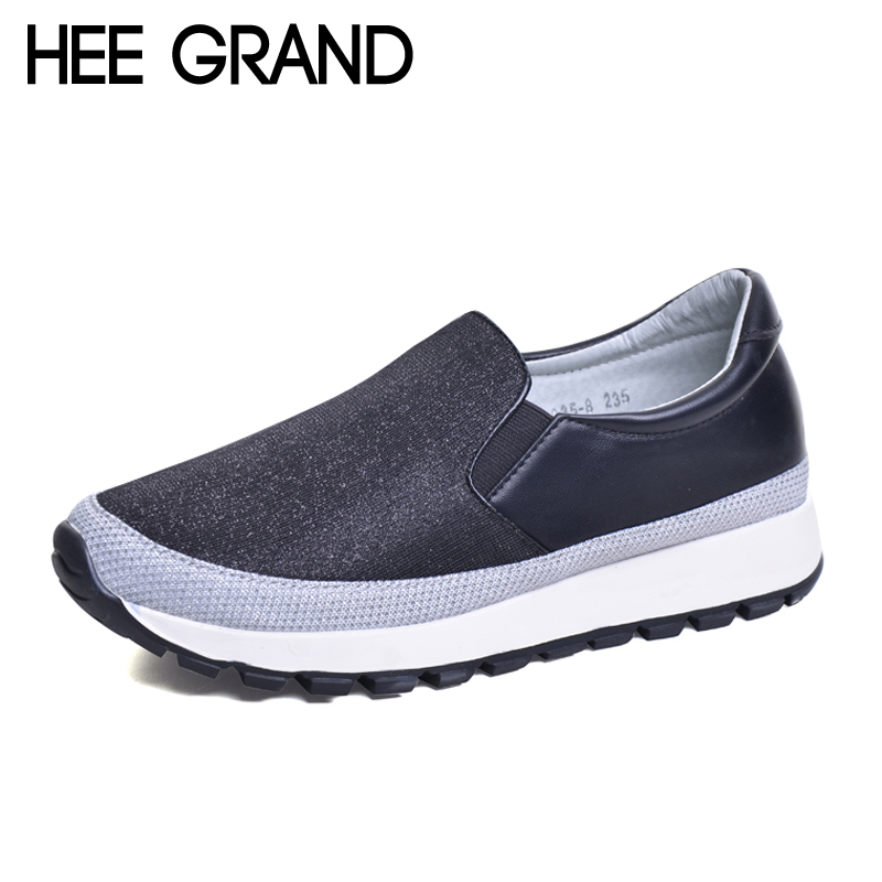 HEE GRAND 2017 Comfort Shoes Woman Spring Loafers Platform Creepers Solid Slip On Casual Women Flats Shoes High Quality XWD5543 phyanic 2017 gladiator sandals gold silver shoes woman summer platform wedges glitters creepers casual women shoes phy3323