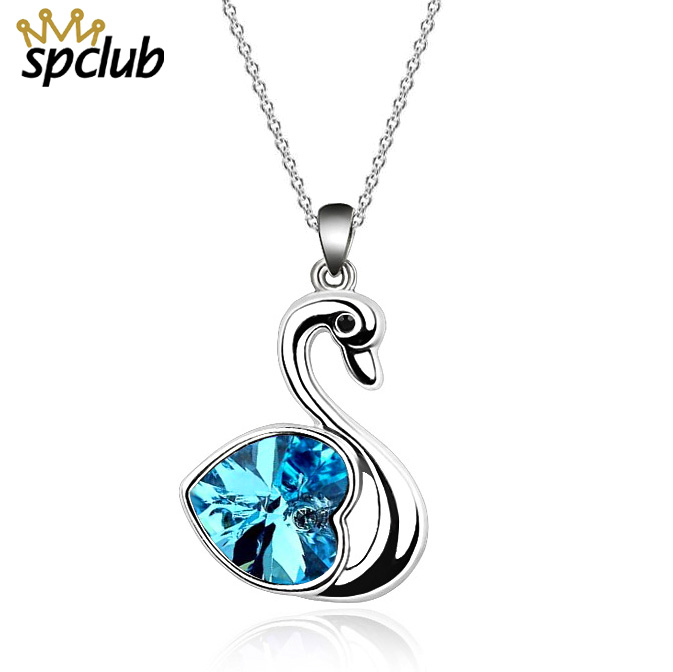 SPCLUB Crystals From Swarovski New Lovely Love Little Swan Necklace Fashion  Charming Pendant Women Necklace Jewelry Dropshipping