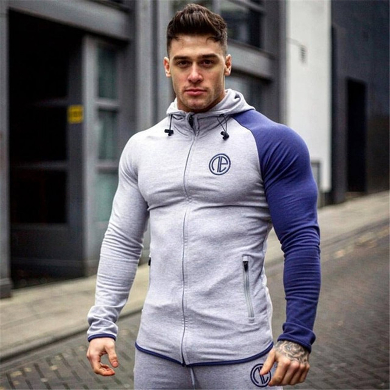 Muscle Brother Fitness Sweatshirt  Male Tracksuit Bodybuilding Men's Gyms Hooded  Pure Color Long Sleeve Hoodies Zipper Clothes