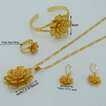 Gold Plated Flower Pendant Necklace Earrings Bracelet Ring Inflorescence Jewelry sets Arab Wedding Ethiopian Africa #022406
