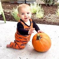 0 24M Halloween Pumpkin Baby Boy Girl Long Sleeve Dress Striped One Piece Dress