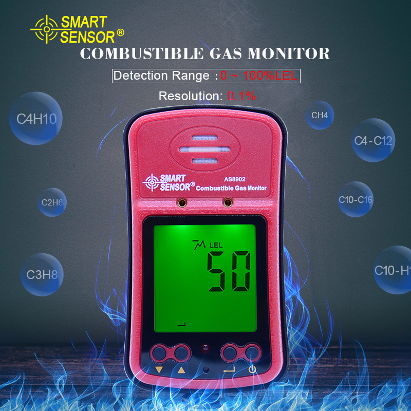 Combustible gas monitor 0-100% Natural Gas Coal Gas Methane Toxic Gas detector Air Quality Monitor+rechargeable battery AS8902Combustible gas monitor 0-100% Natural Gas Coal Gas Methane Toxic Gas detector Air Quality Monitor+rechargeable battery AS8902