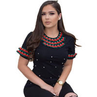 Pearl Embellished Solid Tee Casual Women T Shirt Round Neck Summer Elegant Tops Black Short Sleeve