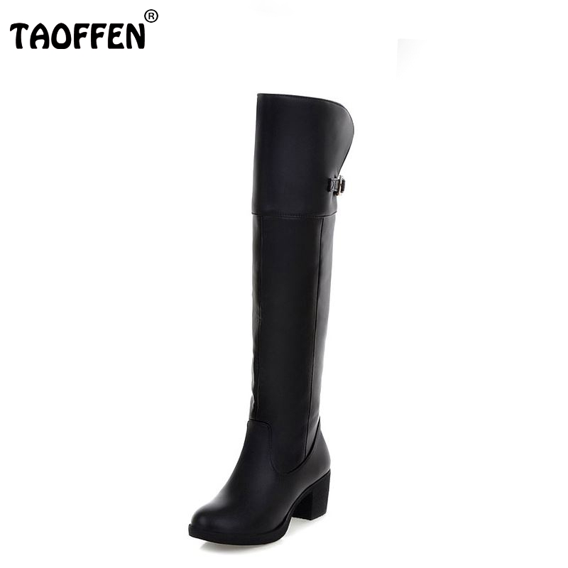 TAOFFEN Women High Heel Over Knee Boots Motorcycle Winter Snow Boot Warm Botas Mujer Feminina Footwear Shoes P19898 Size 34-40 taoffen free shipping ankle boots women fashion short boot winter footwear high heel shoes sexy snow warm p8710 eur size 34 39