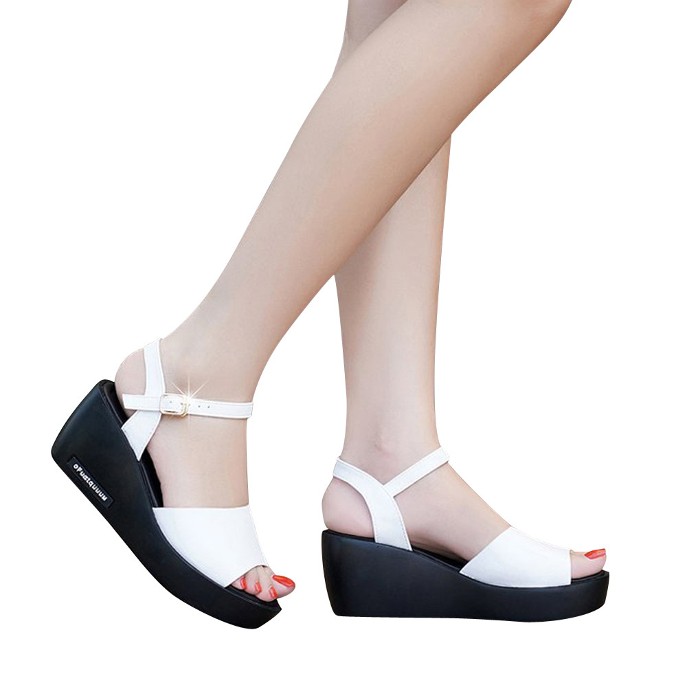 2018 New Fashion Summer Korean Style Muffin Fish Head Women Sandals Sepatu Wanita Wedges Hitam Alk 08 Modis Mulut Ikan Platform Tinggi Tumit Wedge Sandal Gesper Slope Untuk