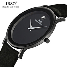 2017 IBSO 6MM Ultra Slim Mens Watches Brand Luxury Genuine Leather Strap Fashion Quartz Watch Men Waterproof Relogio Masculino