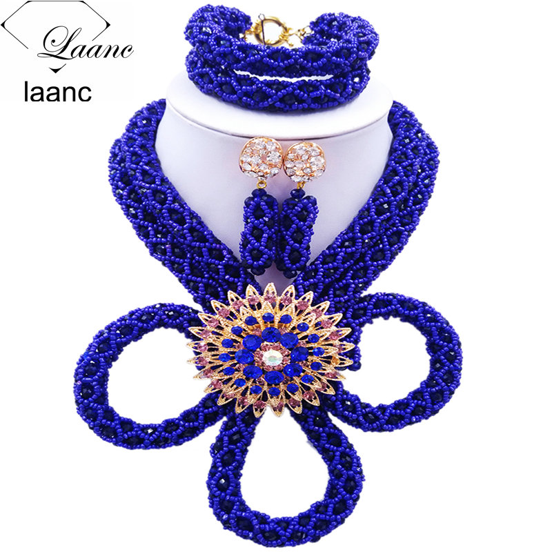 Laanc Nigerian Wedding Crystal Beaded Royal Blue African Beads Jewelry Set for Women HXLK003 стоимость